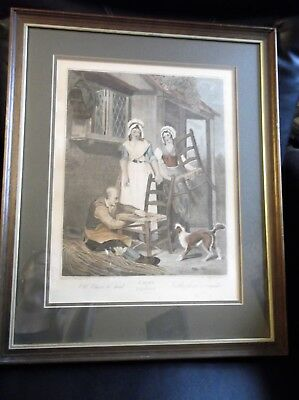 Large Antique Framed Glazed Wheatly Print Cries Of London Chairs To Mend 10