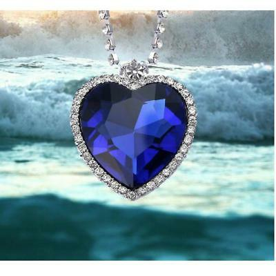 Titanic Heart Of The Ocean Classic Sapphire Blue CZ Crystal Necklace Pendant
