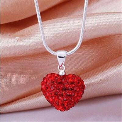 Chic Women Crystal Pendant Jewelry Heart 925 Sterling Silver Necklace+Chain Hot