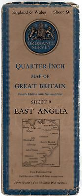 Ordnance Survey Quarter-Inch Map of Great Britain Sheet 9 East Anglia, Anon
