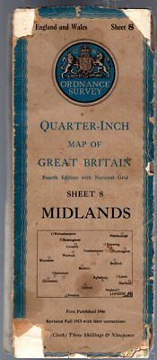 Ordnance Survey Quarter-Inch Map of Great Britain Sheet 8 Midlands, Anon