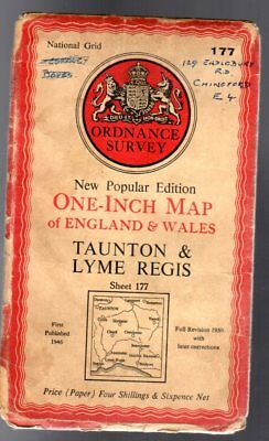 Ordnance Survey  One Inch Map of England & Wales -  Sheet 177 - Taunton & Lyme R
