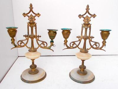 Unusual Pair of Gothic Aesthetic Bronze or Brass Candlesticks !