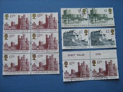 Castle Parcel Stamps In Fine Used Pairs Sg 1611 - 1613