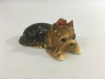 Vintage Bone China Yorkshire Terrier Ornament Figurine with Red Bow