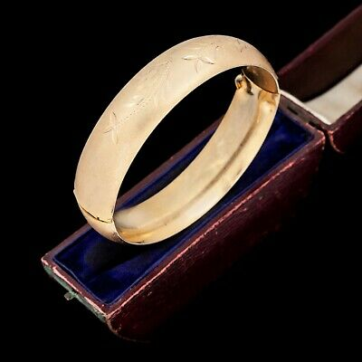 Antique Vintage Deco 14k Gold Filled GF Floral Flower Wedding Bangle Bracelet