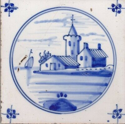 Delft Tile 18th - 19th century   (D 26)       Village on an island