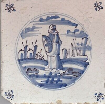 Delft Tile 18th - 19th century   (D 43)   Figure with Hat