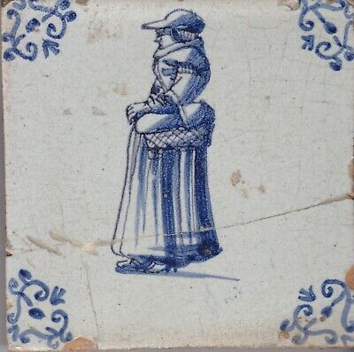 Delft Tile 18th - 19th century   (D 44)   Lady with Basket