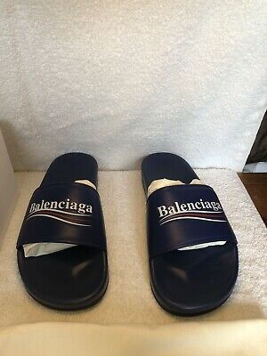 1e087a3516c3 Balenciaga Mens Campaign Logo Pool Slide Sandal US9  550 retail PRICE IS A  STEAL
