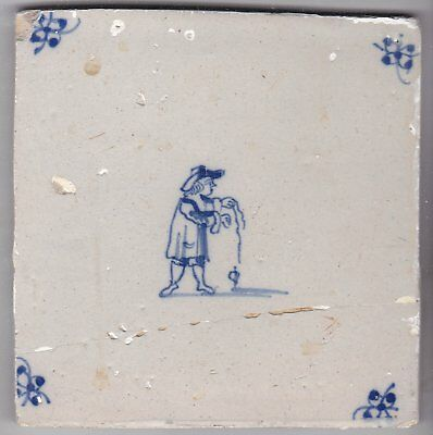Delft Tile c. 18th / 19th century   (D 78)                Boy with spinning top