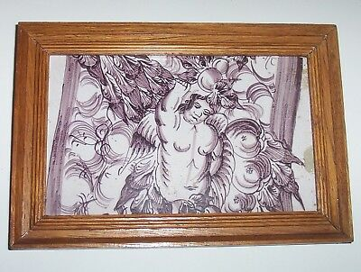Framed Delft Tile c. 18th / 19th century   (D 90)   Angel