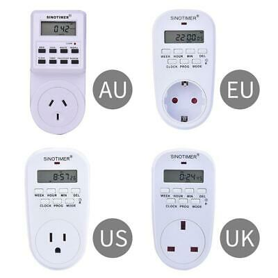 Digital LCD 7 Day Electric Programable Plug-In Timer Switch Wall Clock Socket