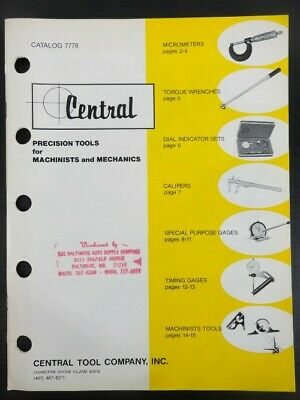 1978 Vintage CENTRAL, Precision Tools for Machinists & Mechanics JOBBERS CATALOG
