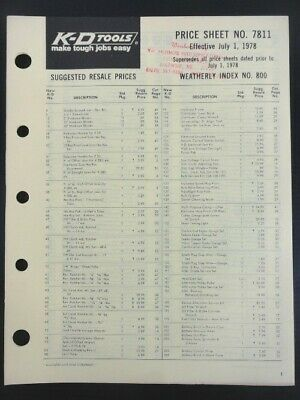 """1978 Vintage K-D Tools """"Automotive Specialty Tools"""" Jobbers 20pg Price Sheet"""