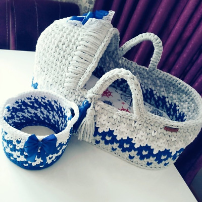 Newborn baby cot sleeping bed cradle Hospital Crochet Knit Bassinet Moses basket