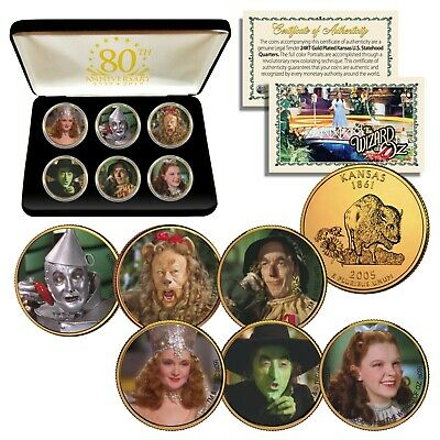 WIZARD OF OZ Kansas Quarters 24K Gold Plated 6-Coin Set w/ 80th ANNIVERSARY BOX