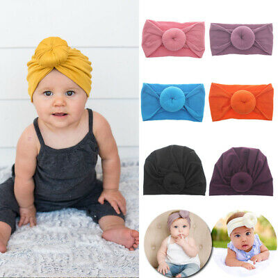 Cute Baby Girls Kids Turban Knot Headband Bow Hair Bands Head Wrap Hat