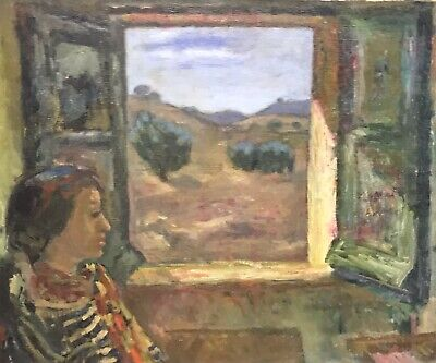 Akos Biro (Hungarian 1911-2002) Large Impressionist Oil - Lady Looking At Window