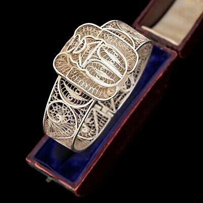 Antique Vintage Art Deco Sterling 800 Silver Egyptian Scarab Filigree Bracelet