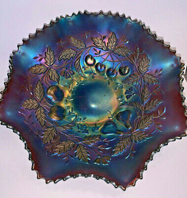 Northwood Ruffled Carnival Glass Bowl Fruits And Flowers Pattern