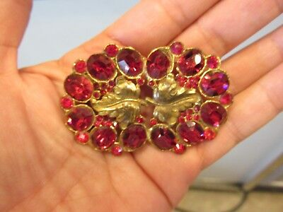 Large Antique Victorian Ruby Red Rhinestone Gold Pot Metal Leaves Brooch OLD