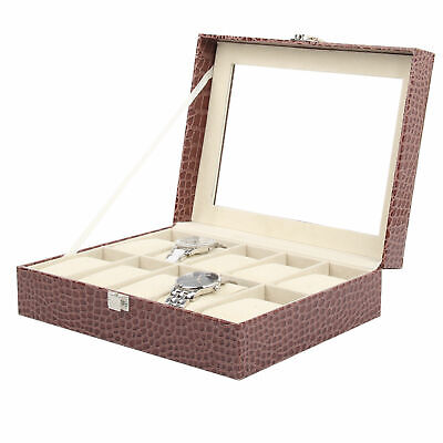 6-24 Grids Glass Faux Leather Watches Case Organiser Jewelry Storage Display Box