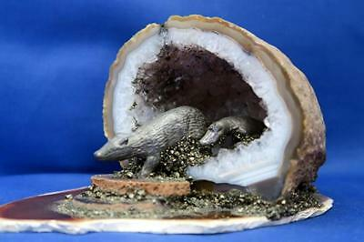 AGATE with PEWTER BADGERS emerging CRYSTAL ROCK