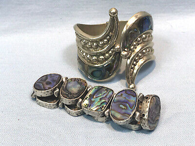 Vintage Alpaca Silver & Abalone Clamper Bracelet ~ As-is + Abalone Stretch