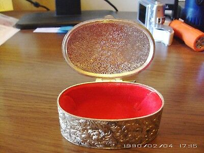 Trinket Vintage Box Small Silver Plated Japan  Good Intricate