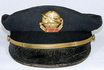 Vintage Original TWA Trans World Airlines Pilot's Hat w Badge (Early 1960's)