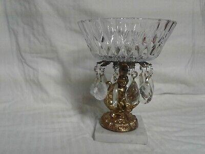 Vintage Candy Dish Marble Cherub Cast Metal Stand