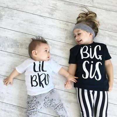 Big/Little Brother Sister Matching Tops Baby Boy Girl Kids Graphic T-shirt Tee
