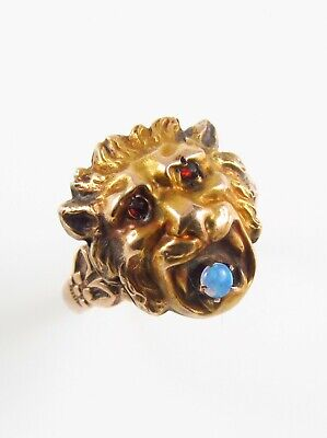 Antique 10k Gold Art Nouveau Garnet Eyed Roaring Lion Cat Opal Ring Size 5.75