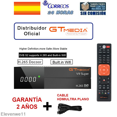 GTMEDIA Nuevo Freesat V9 Super DVB S2 Support 1080P Full HD con WiFi Incorporado