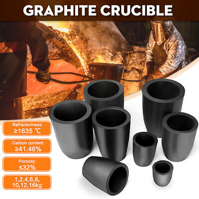 Graphite Furnace Casting Foundry Crucible Copper Melting Tool 1/2/4/6/8/12/16