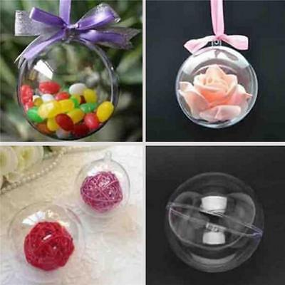 Plastic Clear Fillable Candy Case Bauble Christmas Xmas Tree Ornament Gift KS