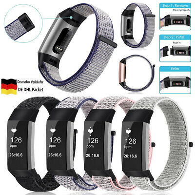 DE Armband für Fitbit Charge 3 Nylon Atmungsaktive Uhrenarmband Watch Quick Band