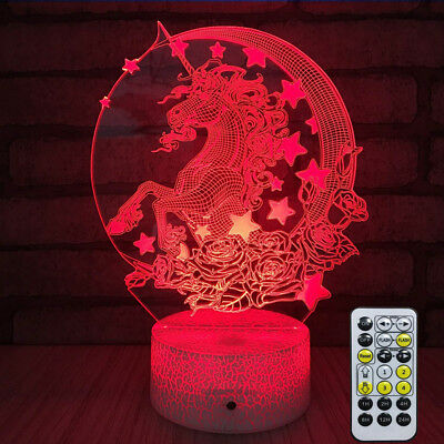 Creative 3D Desk Lamp Lantern Night light Unicorn Style Remote Control Kids Gift