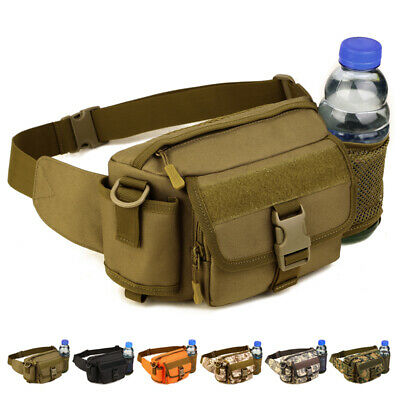 Tactical Outdoor Hiking Travel Fanny Pack Waist Bum Bag with Water Bottle Pouch