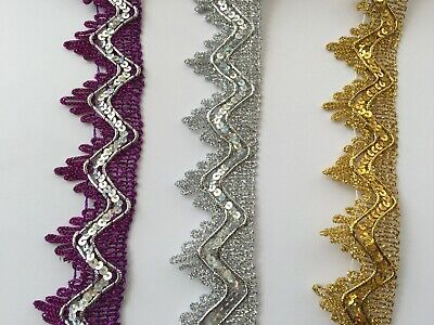 3.5 cm Wide Sequin Lace Ribbon Trim for Craft, Costumes, Dressmaking 1 Yard