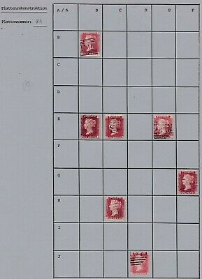 Part Reconstruction of Plate 84 SG43 Victorian GB Penny Red stamp