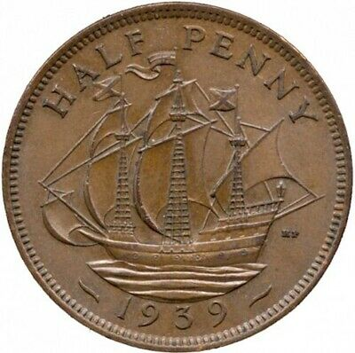 1939-Golden Hind - First English Ship to Sail Around the World -  Halfpenny