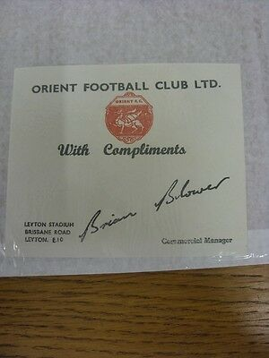 circa 1980 Leyton Orient: Official Compliments Slip 'Orient Football Club Ltd',
