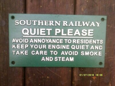 Heavy Cast Metal RAILWAY SIGN `S R QUIET PLEASE` Lovely Gift Present southern