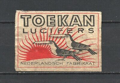 """Made in Holland """"Toekan"""" Toucan Old Vintage Matchbox Label"""