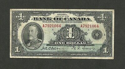 1935 Bank Of Canada $1 One Dollar S/N: A7921064/A Osborne Towers Bc-1 P-38 Circ.