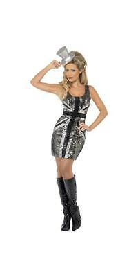 Ladies Glitter Union Jack Great Britain Fancy Dress Costume - silver and black