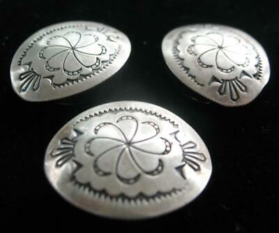 Lot Of 3 Vintage Sterling Navajo Hand Crafted Oval Concho Button Covers