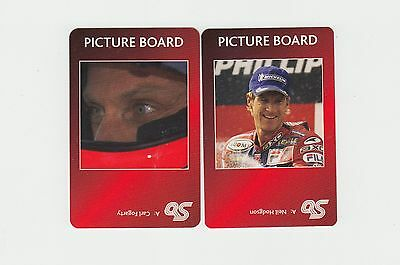 Motorcycle Racing : complete UK sports game card sub set - red back (2 cards)